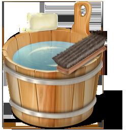 иконкиcorbeille pleine, полная корзина, тазик, ванная,