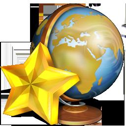 иконки  favoris, глобус, звезда, избранное,