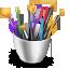 иконки art, supplies, художественные принадлежности, кисточки, карандаш,