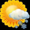иконка snow, occasional, местами снег, погода, ясно, солнце,
