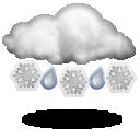 иконка мокрый снег, погода, осадки, снег с дождем,