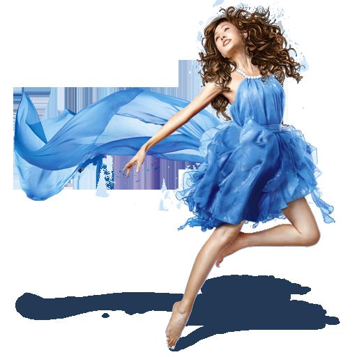 иконка girls, blue dress, девушка, женщина, платье,