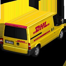 иконка DHL, машина, автомобиль, микроавтобус,