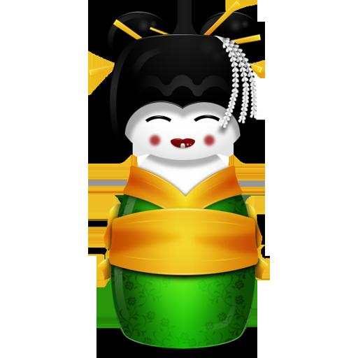 иконка Korea, корейская гейша,