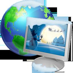иконки My Network Places, сетевое окружение, монитор, интернет, новый год,