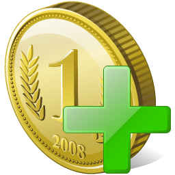иконки coin add, добавить монет, монета, деньги,