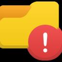 иконки предупреждение, папка, folder alert,