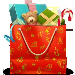 иконки  подарок, рождество, новый год, подарки, медведь, пакет, bag,