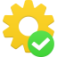 иконки шестеренка, галочка, процесс, process accept,