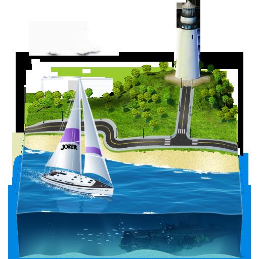иконка пейзаж, море, река, маяк, корабль,
