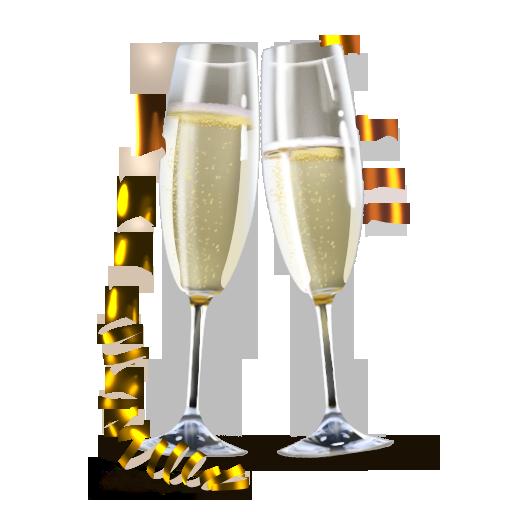 иконки бокалы, champagne, шампанское, праздник, новый год,