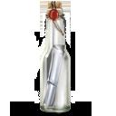 иконка message bottle, бутылка, сообщение,