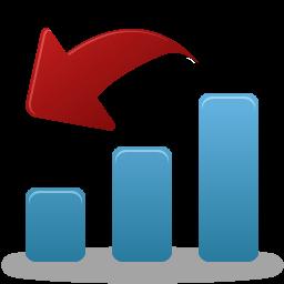 иконки уменьшение, падение, график, статистика, decrease,