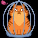 иконка кот, кошка, животное, клетка, cat, cage,