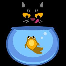 иконка кот, кошка, животное, аквариум, рыбка, рыба, cat, fish,