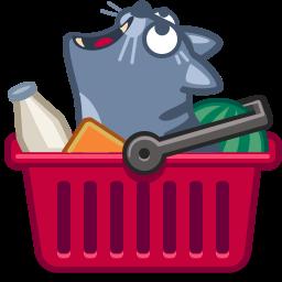 иконка кот, кошка, покупки, корзина, еда, cat, cart,