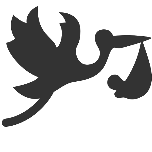 иконка аист, flying, stork with bundle,