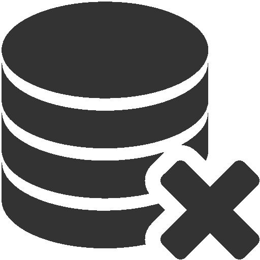 иконка база данных, удалить базу данных, delete database,