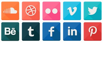 Shiny Trendy Long Shadow Social Icons