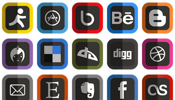 Folded Social Media Icons by uiconstock